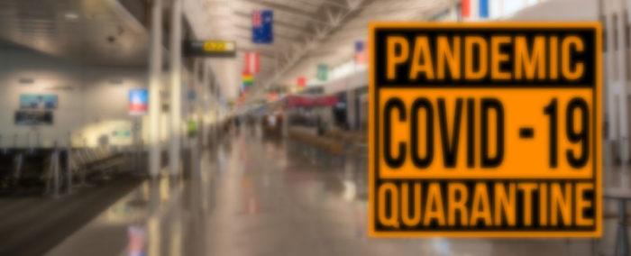 empty airport terminal because of corona virus / COVID-19 quarantine