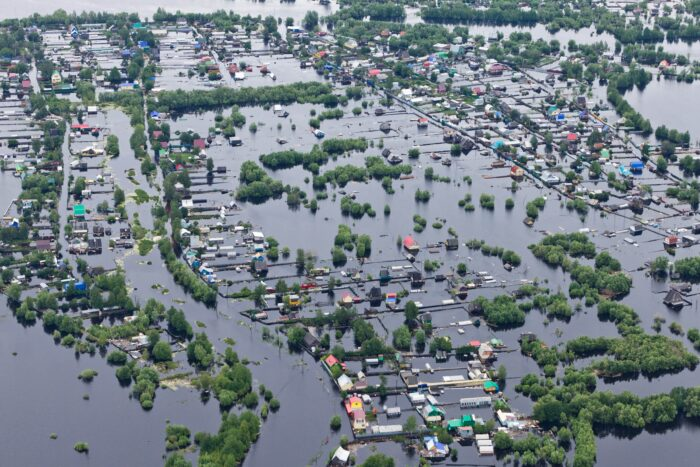 overhead shot of a flooded city